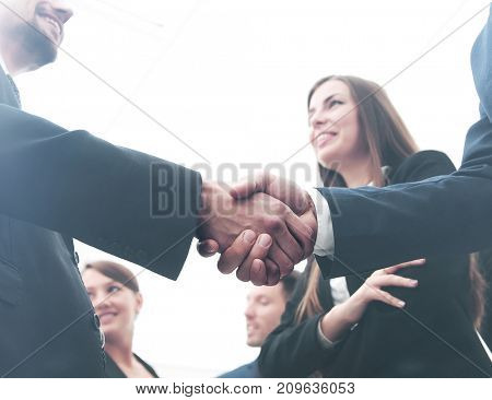 Large group of multiethnic business people making handshake