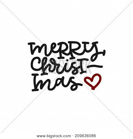 Merry christmas hand lettering with red heart on white background.