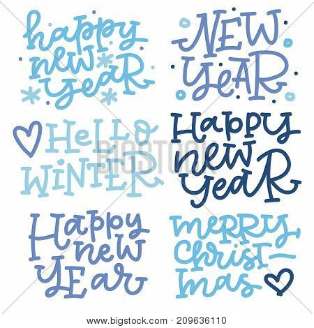 Christmas hand lettering set in blue colors. Happy new year, hello winter, merry christmas. Can be used on postcards, invitations, bags and etc.