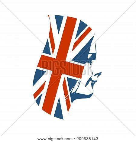 Face side view. Elegant silhouette of a female head. Long hair textured by flag of Great Britain.
