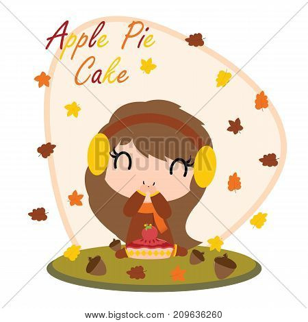 Cute girl with apple pie cake behind maple leaves vector cartoon illustration for thanksgiving's day card design, wallpaper and greeting card