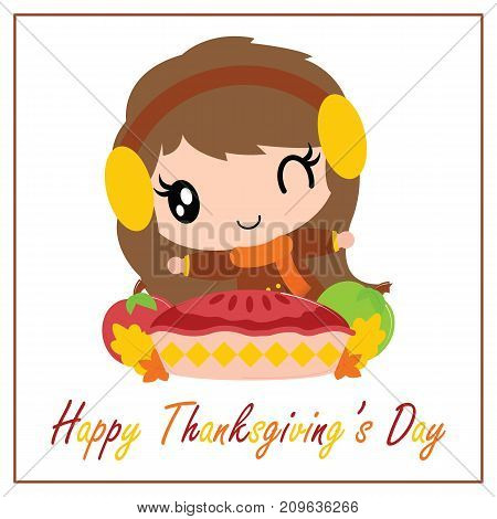 Cute girl want to eat apple pie cake vector cartoon illustration for thanksgiving's day card design, wallpaper and greeting card