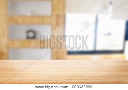 Empty Of Wood Table Top On Blur Of Window Glass In The Morning Background. For Your Photomontage Or