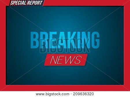 Illustration of Breaking News Opening Scene. Vector Broadcast Breaking News Banner Template