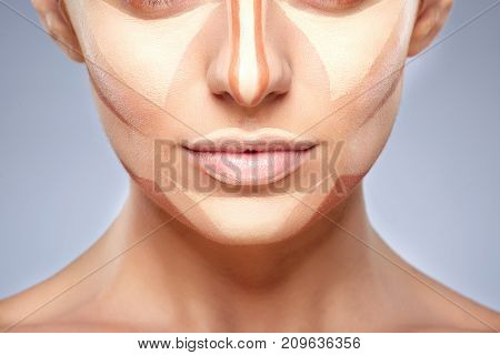 Half Face Of Woman With Contouring