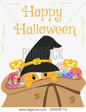 Happy Halloween card design, cat wearing black witch hat inside a candies sack cartoon vector