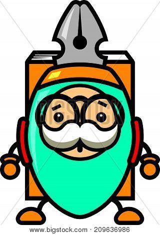 Vector cartoon illustration of a blue comic pen mascot character carries a book