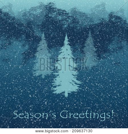 Mountains and pine trees in snowfall illustrated seasonal greetings card