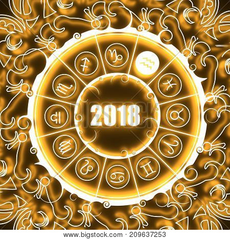 Astrological symbols in the circle. Water bearer sign. Celebration card template. Neon shine illumination. Zodiac circle with 2018 new year number. 3D rendering