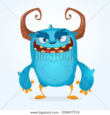 Cute furry blue monster. Vector bigfoot or troll character mascot. Design for children book holiday decoration stickers or print