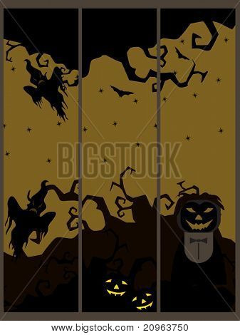 background with set of three halloween banner, illustration