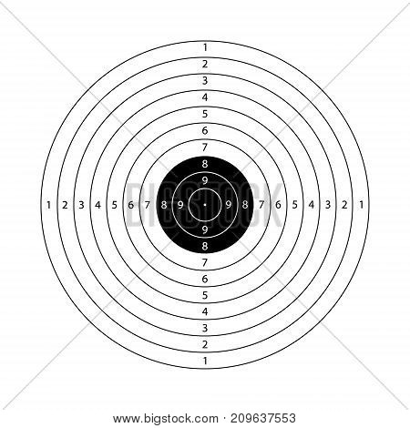 Blank template for sport target shooting competition. Shooting range target template.
