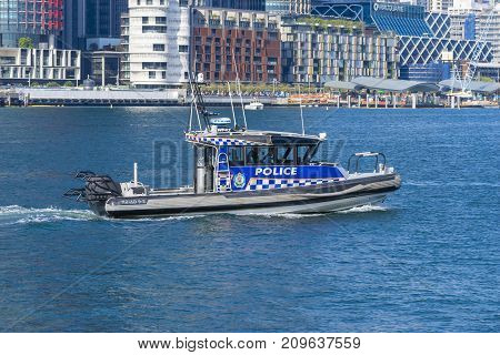 Sydney, Australia - May 11, 2017: Close-up view of a police boat patrolling in Sydney, Australia