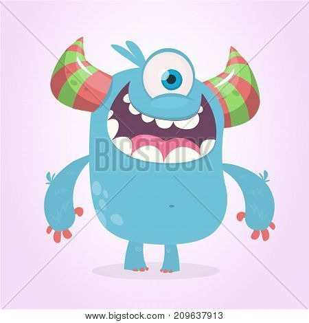Cute cartoon monster with horns with one eye. Smiling monster emotion with big mouth. Halloween vector illustrationv