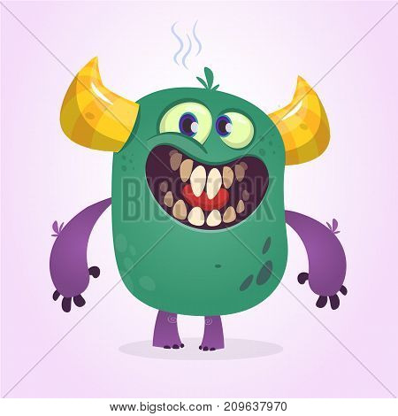 Angry cartoon cute monster. Vector monster character
