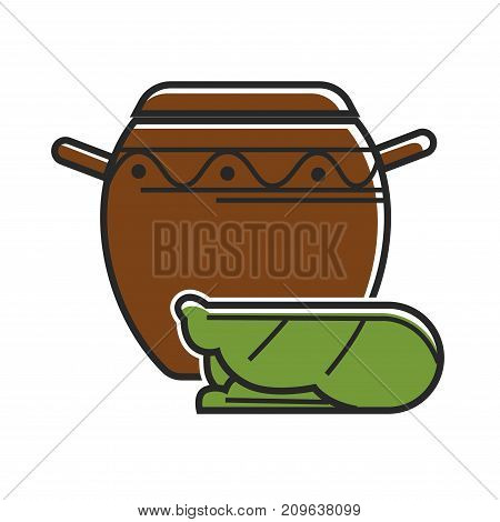 Huge clay vase with ornament and small green decorative statue isolated cartoon flat vector illustration on white background. Ancient fragile vessel with handles and unusual authentic souvenir.