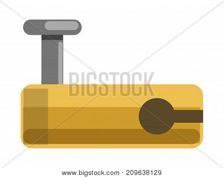 Metal lock with smooth yellow corpus, solid metal bolt and hole for latch isolated cartoon flat vector illustration on white background. Simple mechanism to keep things closed in safe place.