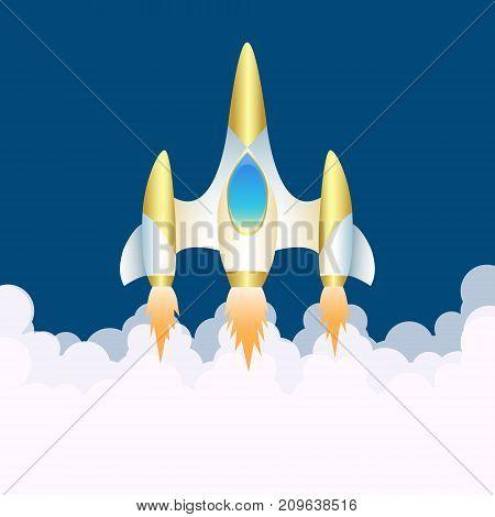 Spaceship. Vertical start of shuttle in smoke clubs. Illustration for children. Space theme. Start up background. Vector illustration.