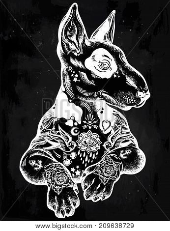 Vintage style beautiful gothic Bull terrier portrait decorated in traditional flash art tattoos. Character tattoo design for dog pet lovers, artwork for print, textiles. Isolated vector illustration.