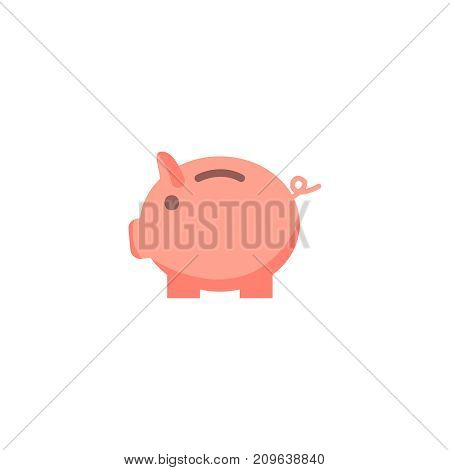 Money pig flat icon. Single high quality flat symbol of gambling for web design or mobile app. Color sign of casino for design logo, visit card, etc. Exclusive of lottery.