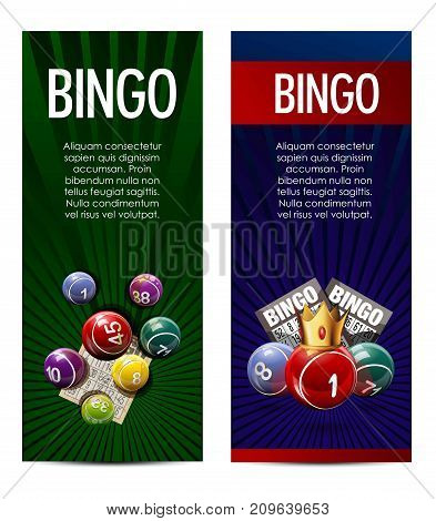 Bingo lotto lottery banners template. Vector design of winner lucky numbers on balls, golden crown and game cards or gambling tickets