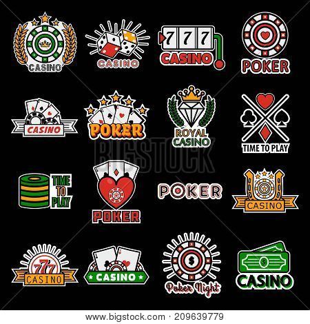 Casino poker logo templates. Vector set gambling dice, chips and playing cards, royal crown, roulette or wheel of fortune and jackpot lucky numbers, horseshoe symbol