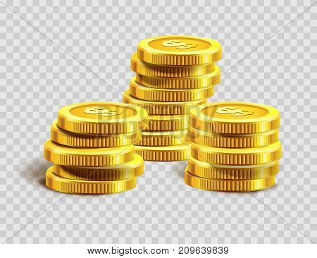 Gold coins pile or golden dollar coin money bank heap. Vector shiny metal cent coins on transparent background for casino poker jackpot win game