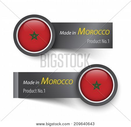 Flag Icon And Label With Text Made In Morocco