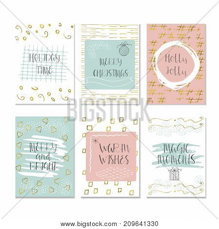 Christmas And Happy New Year Greeting Card With Handwritten Brush Lettering And Decorative Elements