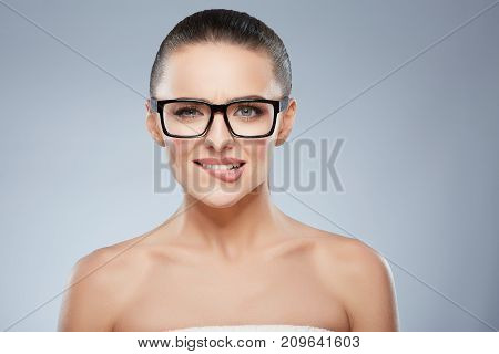 Woman In Glasses Biting Her Lower Lip