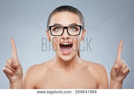 Beauty Portrait Of Happy Smiling Woman In Glasses