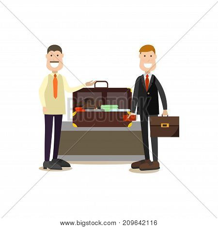 Airport baggage check vector illustration. Airport people flat style design element, icon isolated on white background.