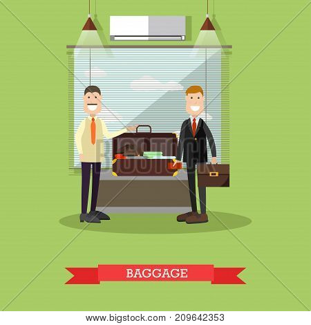 Airport baggage check vector illustration. Airport terminal, security checkpoint flat style design element.