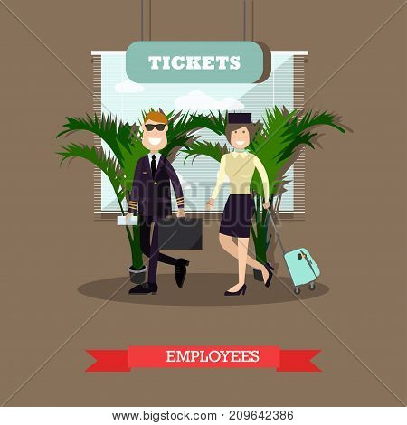 Vector illustration of pilot and stewardess with luggage. Airline staff, cabin crew concept design element in flat style.