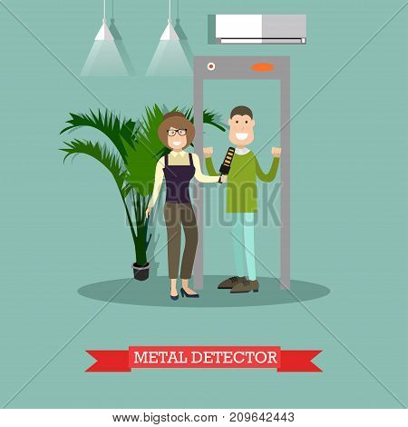Vector illustration of security staff female scanning passenger male with metal detector. Airport terminal, security checkpoint concept design element in flat style.
