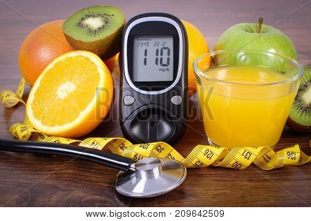 Glucometer, Stethoscope, Fruits, Juice And Centimeter, Diabetes Lifestyles And Nutrition Concept