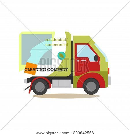 Vector illustration of cleaning company car. Professional residential and commercial cleaning services concept flat style design element, icon isolated on white background.