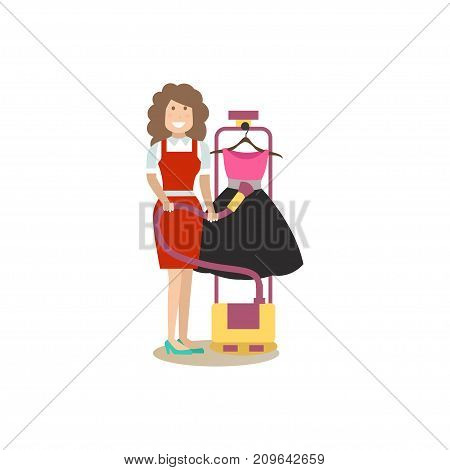 Vector illustration of cleaning lady ironing clothing with steam iron. Cleaning people flat style design element, icon isolated on white background.