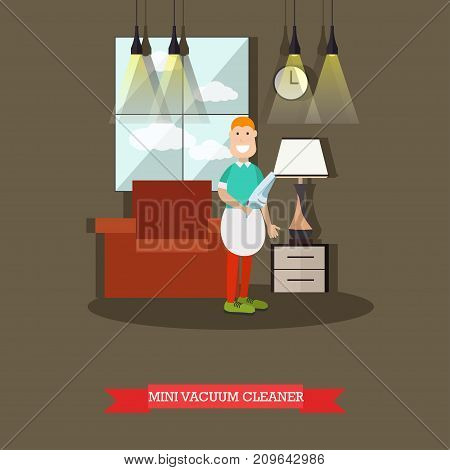 Vector illustration of cleaning male doing the vacuuming with hand vacuum. Mini vacuum cleaner concept design element in flat style.