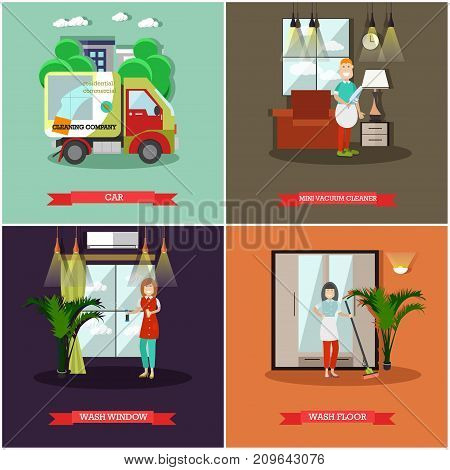 Vector set of cleaning posters, banners. Car, Mini vacuum cleaner, Wash window, Wash floor flat style design elements.