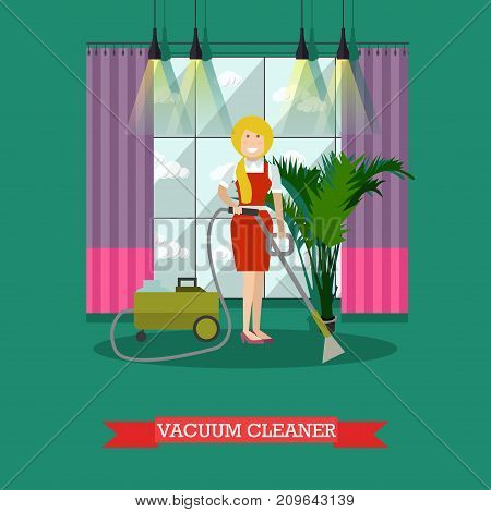 Vector illustration of cleaning woman doing the vacuuming with vacuum cleaner. Cleaning company services concept design element in flat style.
