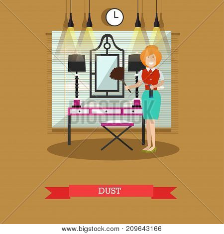 Vector illustration of cleaning woman wiping dust from mirror. Cleaning company services concept design element in flat style.