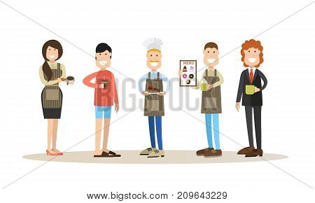 Vector illustration of coffee house people waitress, baker, waiter, boss and customer with coffee to go. Flat style design elements, icons isolated on white background.