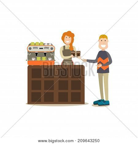 Vector illustration of customer buying coffee to go, smiling saleswoman with cups of coffee. Coffee house people flat style design element, icon isolated on white background.