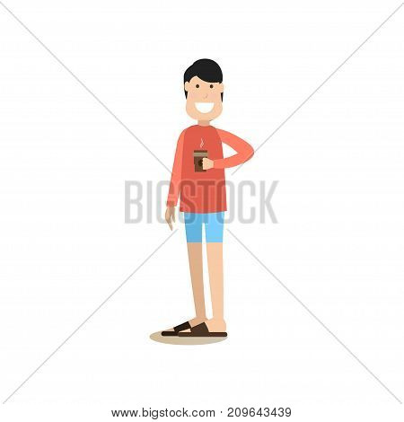 Coffee to go concept vector illustration in flat style. Young man with takeaway coffee. Coffee house people flat style design element, icon isolated on white background.