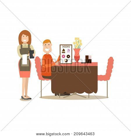 Vector illustration of waitress taking order from visitor male sitting at table and holding menu. Coffee house people flat style design element, icon isolated on white background.