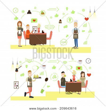 Vector set of coffee shop workers waiter, waitress serving coffee and desserts to visitors. Coffee house people symbols, icons isolated on white background. Flat style design.