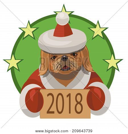 Dog Pekingese happy new 2018 year and wishes everybody a lot of true friends and good mood!