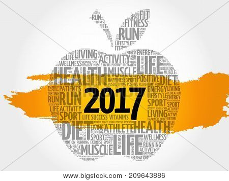 2017 apple word cloud collage health goals concept background