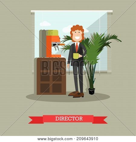 Vector illustration of coffee house director with cup of coffee drink. Coffee house interior and coffee making equipment. Flat style design.